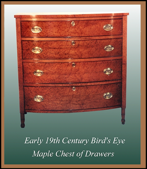 Federal Period Maple Chest of Drawers Hander Woodworking