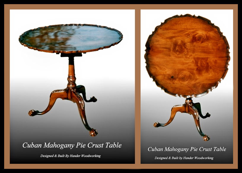 Cuban Mahogany Pie Crust Table, Hander Woodworking