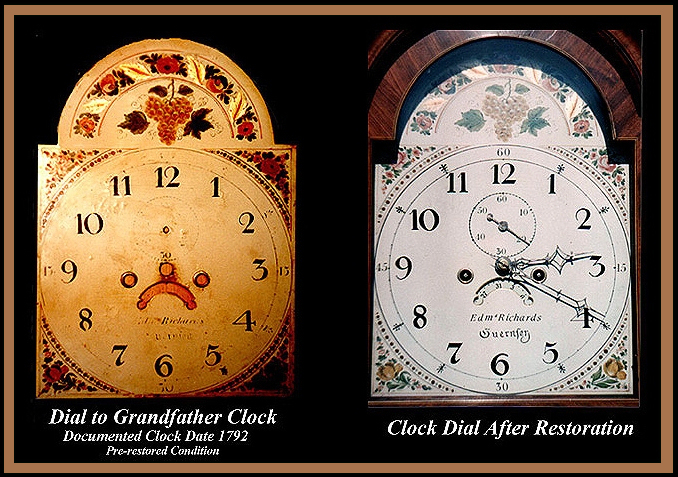 1792 Grandfather Clock Dial, Hander Woodworking