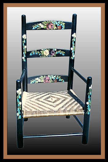 Tole Painted Child Chair, Hander Woodworking
