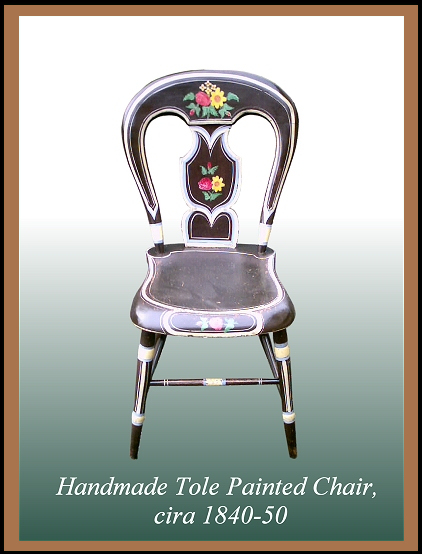 Tole Painted Chair, Hander Woodworking