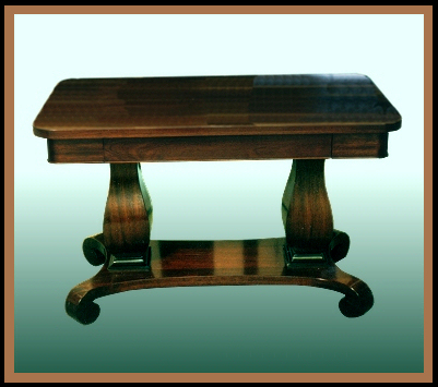 Mahogany Library Table, Hander Woodworking