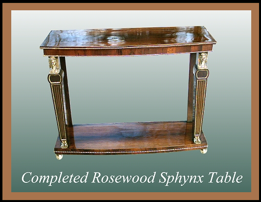 Victorian Egyptian Theme Rosewood Table, Hander Woodworking